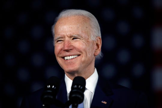 Democratic presidential candidate former Vice President Joe Biden speaks at a primary night election rally in Columbia, S.C., Saturday, Feb. 29, 2020.