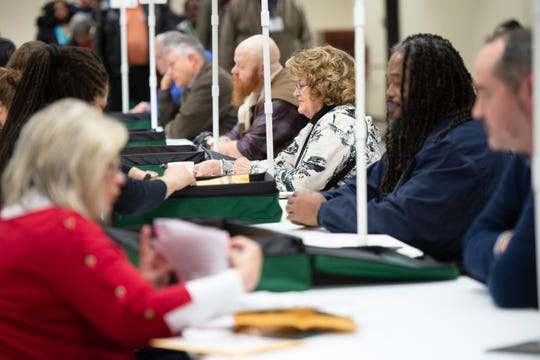 Clerks check-in at the Greenville County Election and Registrations office Saturday, February 29, 2020.