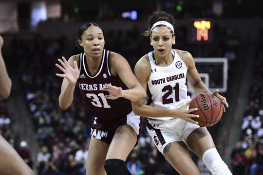 South Carolina forward Mikiah Herbert Harrigan (21) scored 20 points to lead the Gamecocks past Texas A&M to finish 16-0 in the Southeastern Conference regular season.