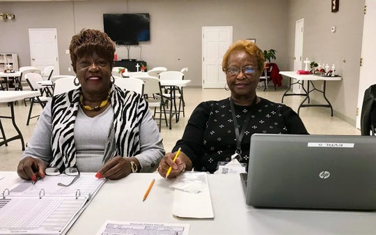 More than a 100 people voted during the South Carolina Democratic presidential preference primary at First Baptist Church Bishopville on Saturday, Feb. 29, 2020, where poll manager Minnie Harris, left, and Naomi Price, poll clerk, spent their day.
