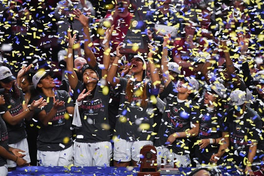 South Carolina celebrates after defeating Mississippi State to win the 2017 SEC Women's Basketball Tournament championship in Greenville.