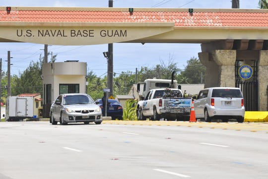 Traffic passes through the gates of Naval Base Guam in this file photo.