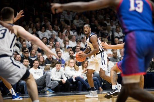 Butler guard Kamar Baldwin moves the ball down the court during the men's basketball game at Hinkle Fieldhouse in Indianapolis, Saturday, Feb. 29, 2020. Butler defeated DePaul 60-42. Kaiti Sullivan/for IndyStar