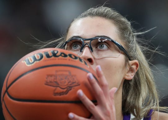 Northwestern Tigers Madison Layden (33) shoots at the foul line in the first half of the Class 4A state final game against the Lawrence North Wildcats at Bankers Life Fieldhouse on Saturday, Feb. 28, 2020. The Lawrence North Wildcats defeated the Northwestern Tigers 59-56.