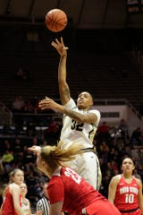 Purdue forward Ae'Rianna Harris (32) puts up two during the fourth quarter of a NCAA women's basketball game, Saturday, Feb. 29, 2020 at Mackey Arena in West Lafayette.