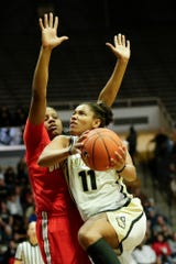 Purdue guard Dominique Oden (11) goes up for a layup during the third quarter of a NCAA women's basketball game, Saturday, Feb. 29, 2020 at Mackey Arena in West Lafayette.