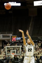 Purdue forward Jenelle Grant (22) shoots during the fourth quarter of a NCAA women's basketball game, Saturday, Feb. 29, 2020 at Mackey Arena in West Lafayette.