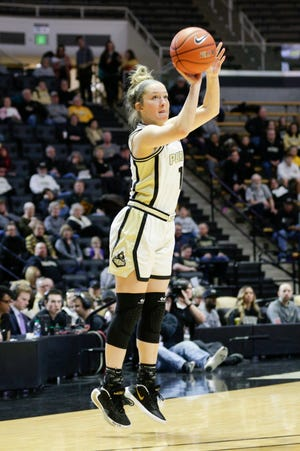 Purdue guard Karissa McLaughlin (1) shoots during the first quarter of a NCAA women's basketball game, Saturday, Feb. 29, 2020 at Mackey Arena in West Lafayette.