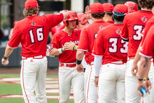 Baseball is on hold for Connor Dupoy, pictured here against Sam Houston State earlier this month, and the Ragin' Cajuns due to coronavirus.