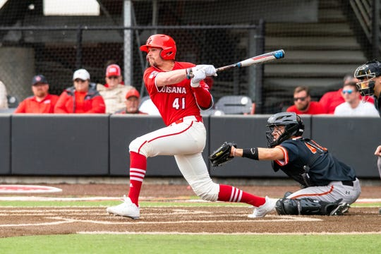 UL's Gavin Bourgeois delivers a three-run double in the fourth inning of a 7-5 win over Sam Houston State on Sunday at The Tigue.