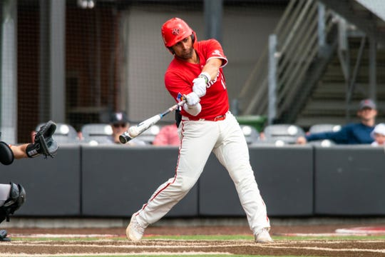 UL catcher Sebastian Toro connects at the plate in a 7-5 win over Sam Houston State last Sunday.