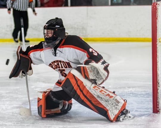 Brighton's Chris Wozniak makes one of his 33 saves in a 3-2 regional semifinal victory over the Orchard Lake St. Mary's on Saturday, Feb. 29, 2020.