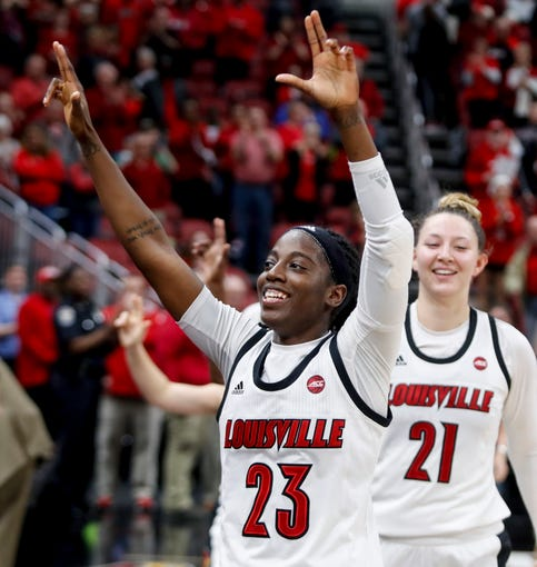 Louisville's seniors, led by Jazmine Jones, take a final lap around the court at the end of their last home regular season game on Mar. 1, 2020.