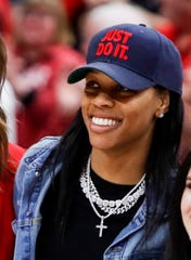 Former Louisville player Asia Durr visits the KFC Yum Center on senior day on Mar. 1, 2020.