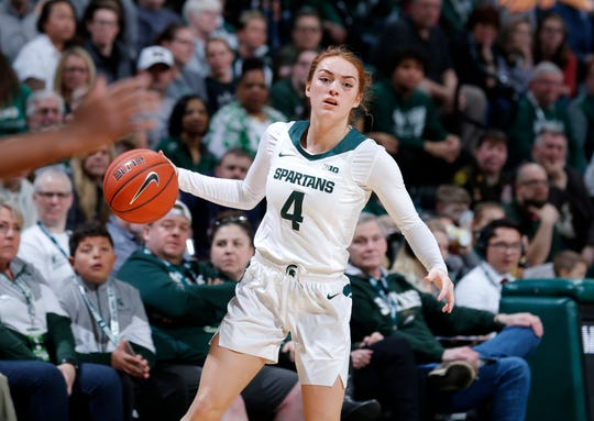Michigan State's Taryn McCutcheon looks to pass against Penn State, Sunday, March 1, 2020, in East Lansing, Mich.