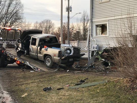 A truck crashed into a house on North East Street Sunday afternoon.