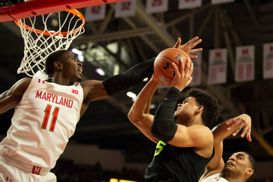 Feb 29, 2020; College Park, Maryland, USA; Maryland Terrapins guard Darryl Morsell (11) blocks Michigan State Spartans forward Malik Hall (25) shot during the first half at XFINITY Center. Mandatory Credit: Tommy Gilligan-USA TODAY Sports