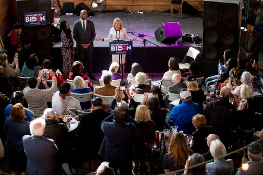 Jill Biden addresses the crowd Sunday, March 1, 2020, during a campaign stop at Loflin Yard in Memphis.