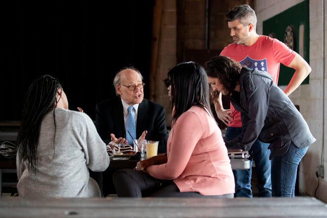 U.S. Rep. Steve Cohen collects signatures to be on the ballot Sunday, March 1, 2020, during a campaign stop by Jill Biden at Loflin Yard in Memphis.