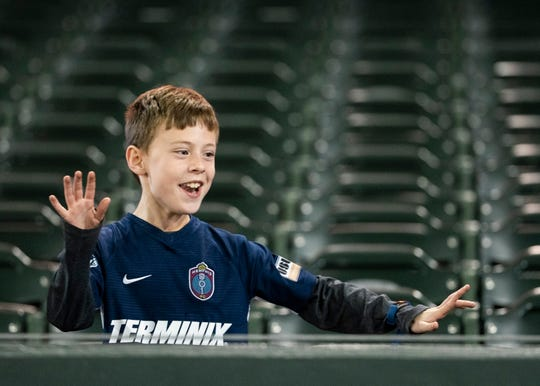 A Memphis 901 fan in the stands during a game at AutoZone Park on Saturday, February 29, 2020.