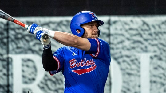 Louisiana Tech outfielder Parker Bates (2) during an NCAA college baseball game between Louisiana Tech and Troy, Friday, Feb. 21, 2020, in Troy, Ala. (AP Photo/Vasha Hunt)