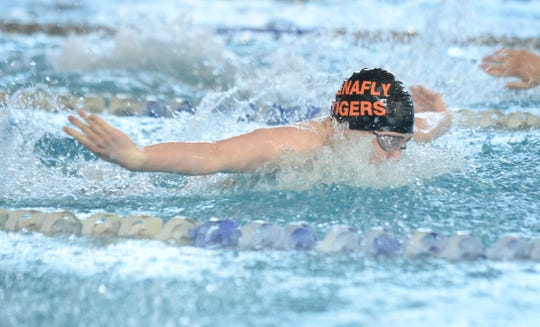 Tenafly's Hudson Tritter swims in the boy 100-yard butterfly during the NJSIAA 2020 Boys Swimming Meet of Champion at GCIT, Sunday, March 1, 2020.