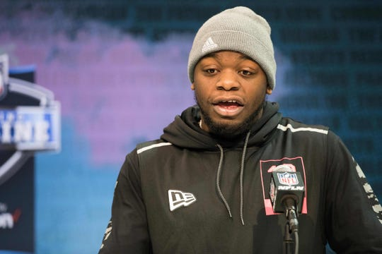 Feb 27, 2020; Indianapolis, Indiana, USA; Auburn linebacker Nick Coe (LB10) speaks to the media during the 2020 NFL Combine in the Indianapolis Convention Center.