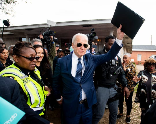 Former Vice President Joe Biden arrives at Brown Chapel AME Church in Selma, Ala., on Sunday March 1, 2020. It is the 55th anniversary of the Selma Bloody Sunday Bridge Crossing.