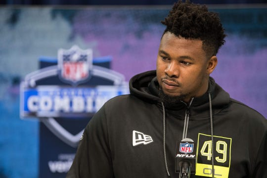 Auburn offensive lineman Prince Tega Wanogho speaks to the media during the 2020 NFL Combine in the Indianapolis Convention Center on Feb. 26, 2020.