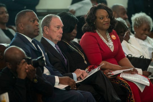 Presidential candidate Mike Bloomberg joins the crowd at Brown Chapel AME Church in Selma, Ala., on Sunday, March 1, 2020.
