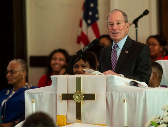 Presidential candidate Mike Bloomberg speaks at Brown Chapel AME Church in Selma, Ala., on Sunday, March 1, 2020.