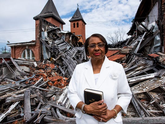 Irma Jean Jackson stands in front of the collapsed chapel of her church, Green Baptist Church in Selma, Ala., on Sunday March 1, 2020. It is the 55th anniversary of the Selma Bloody Sunday Bridge Crossing.