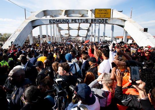 Thousands cross the Edmund Pettus Bridge in Selma, Ala., on Sunday March 1, 2020. It is the 55th anniversary of the Selma Bloody Sunday Bridge Crossing.