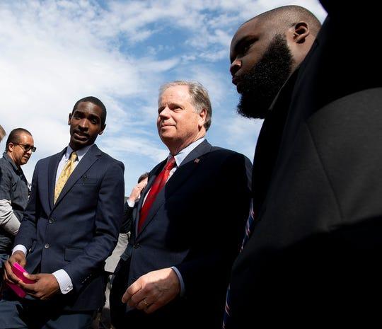 \Senator Doug Jones in Selma, Ala., on Sunday March 1, 2020. It is the 55th anniversary of the Selma Bloody Sunday Bridge Crossing.