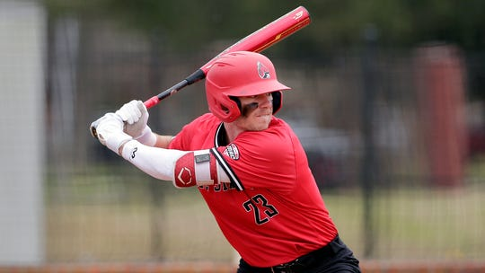 Ball State infielder Ross Messina during an NCAA baseball game on Sunday, Feb. 23, 2020, in Houston, Texas. (AP Photo/Michael Wyke)