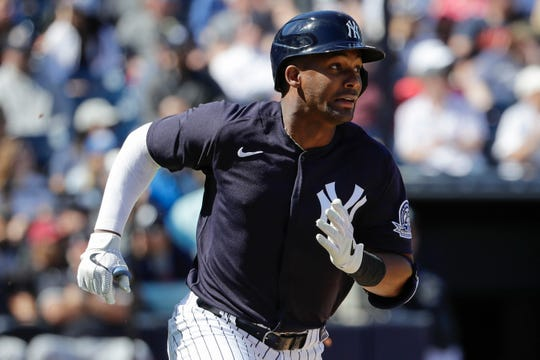 New York Yankees' Miguel Andujar during the fourth inning of a spring training baseball game against the Detroit Tigers Saturday, Feb. 29, 2020, in Tampa, Fla.
