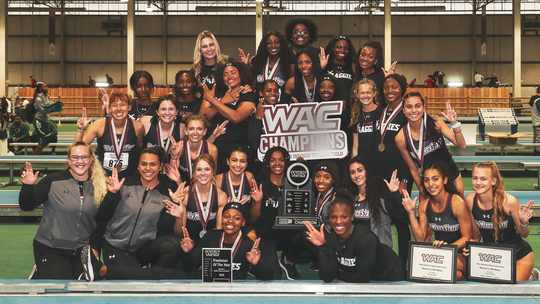 New Mexico State indoor track and field team claimed the 200 Western Athletic Conference title.