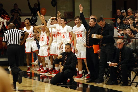 Artesia reacts to a 3-point shot made during the 4-4A district championship game against Lovington on Feb. 29, 2020. Lovington won, 53-46.
