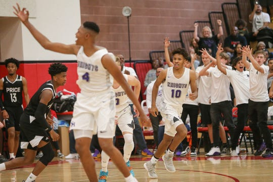 Deonta Strange (10) sinks a 3 pointer againt Price High School on Saturday night in the CIF-SS Division 3A boys' basketball finals.