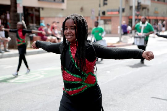The James O. Jessie Desert Highland Unity Center Drill Team and Drum Squad perform during the 33rd annual Black History Parade and Town Fair in Palm Springs, Calif., on Saturday, February 29, 2020.