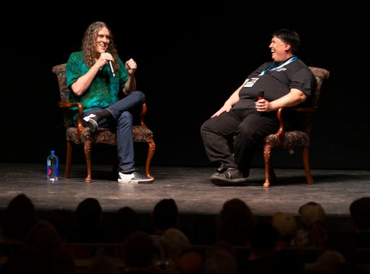 Weird Al Yankovic and Julio Diaz chat at the Saenger Theatre during Pensacon 2020 Sunday, March 1, 2020.