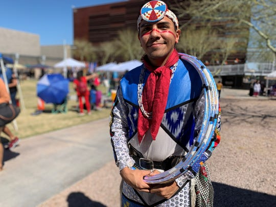 Sky Duncan was one of three head dancers at the second annualTwo Spirit Powwow at South Mountain Community College on Feb. 29, 2020.