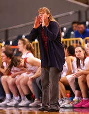 Seton Catholic head coach Karen Self during action against Sahuaro High in the 4A Girls basketball final at Veterans Memorial Coliseum on Feb. 29, 2020 in Phoenix, Ariz.