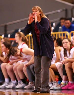 Seton Catholic head coach Karen Self during action against Sahuaro High in the 4A Girls basketball final at Veterans Memorial Coliseum on Feb. 29, 2020 in Phoenix, Ariz.