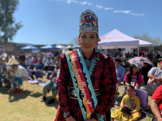 Snow Otero, Arizona's first Miss Southwest Two Spirit, attended the second annualTwo Spirit Powwow at South Mountain Community College on Feb. 29, 2020.