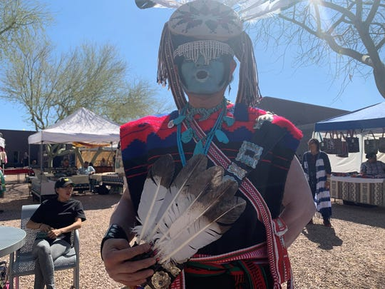 Vern Vee Newton was among hundreds who attended the second annualTwo Spirit Powwow at South Mountain Community College on Feb. 29, 2020.
