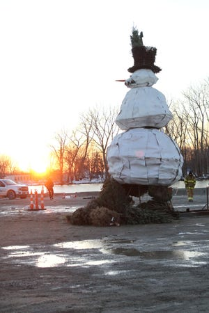 """Tim,"" the name given to the Burning Snowman of 2020, awaits his fiery fate at Waterworks Park in Port Clinton, where the event was held early last year."