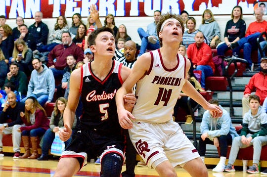 Cardinal Mooney's Nick Bastian goes for a rebound against Riverview Gabriel Richard during the Catholic League boys basketball championship on Saturday, Feb. 29, 2020, at Detroit Mercy's Calihan Hall.
