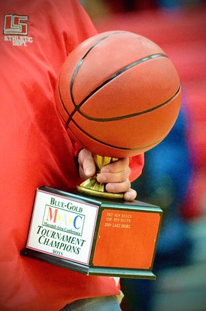 Pictured is the Macomb Area Conference Blue/Gold boys basketball championship trophy on Saturday, Feb. 29, 2020, at Chippewa Valley.