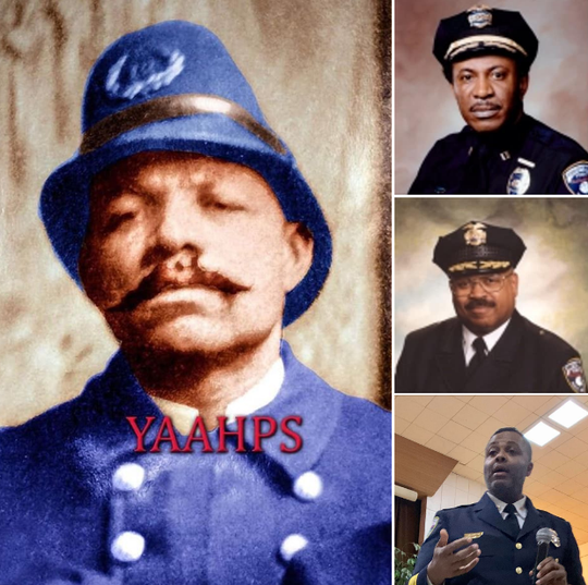 The York City Police Department is honoring black officers and department leaders. Clockwise, from left: Officer Lewis M. Diggs, Chief Thomas Chatman, Chief Michael Hill, and current Commissioner Osborne Robinson III.